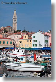 bell towers, boats, buildings, croatia, europe, harbor, rovinj, structures, towers, towns, transportation, vertical, photograph