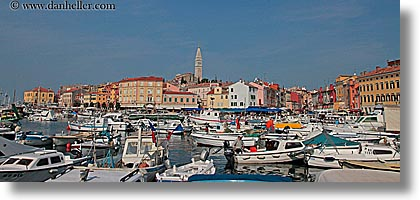 bell towers, boats, buildings, croatia, europe, harbor, horizontal, panoramic, rovinj, structures, towers, towns, transportation, photograph