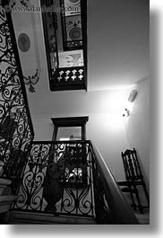 black and white, croatia, europe, hotel villa angela oro, hotels, rovinj, stairs, vertical, photograph