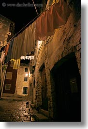 clothes, croatia, europe, hangings, laundry, narrow streets, nite, rovinj, streets, vertical, photograph