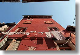 clothes, croatia, europe, hangings, horizontal, laundry, rovinj, upview, photograph