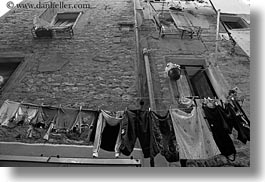 black and white, clothes, croatia, europe, hangings, horizontal, laundry, rovinj, upview, photograph
