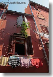 clothes, croatia, europe, hangings, laundry, rovinj, upview, vertical, photograph