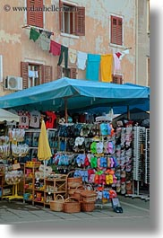 clothes, croatia, europe, hangings, huts, laundry, rovinj, trinkets, vertical, photograph