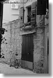 bicycles, black and white, croatia, doors, europe, narrow streets, rovinj, streets, vertical, photograph