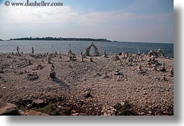 cairn, croatia, europe, horizontal, piles, rocks, rovinj, photograph