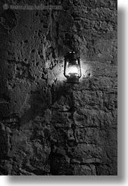 black and white, croatia, europe, lamps, nite, rovinj, stones, vertical, walls, photograph