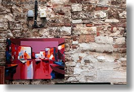 croatia, europe, horizontal, paintings, rovinj, walls, photograph