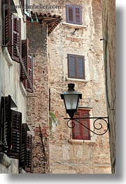 croatia, europe, lamp posts, rovinj, vertical, windows, photograph
