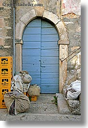 arches, blues, croatia, doors, europe, sipan, vertical, photograph