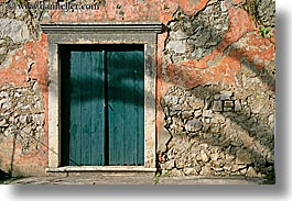 croatia, doors, europe, green, horizontal, sipan, stones, walls, photograph