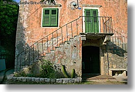 croatia, doors, europe, green, horizontal, sipan, stairs, windows, photograph