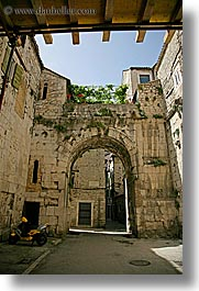 archways, courtyard, croatia, diocletians palace, europe, split, vertical, photograph