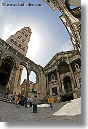 croatia, diocletian, diocletians palace, europe, fisheye lens, palace, split, vertical, photograph