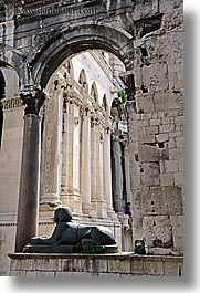 arches, croatia, diocletians palace, europe, sphinx, split, vertical, photograph