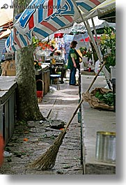 brooms, croatia, europe, market, split, umbrellas, vertical, photograph
