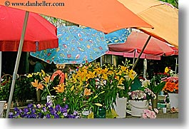 croatia, europe, flowers, horizontal, market, split, umbrellas, photograph