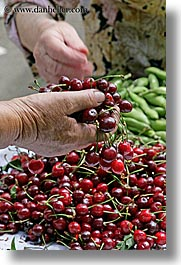 cherries, croatia, europe, grabbing, hands, market, split, vertical, photograph