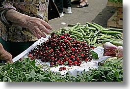cherries, croatia, europe, grabbing, hands, horizontal, market, split, photograph