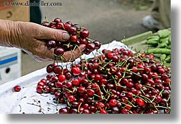 cherries, croatia, europe, holding, horizontal, market, split, photograph
