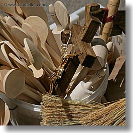 croatia, europe, jesus, market, split, spoons, square format, wooden, photograph