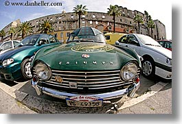 cars, classic car, croatia, europe, fisheye lens, green, horizontal, old, split, triumph, umbrellas, photograph
