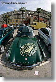 cars, classic car, croatia, europe, fisheye lens, green, old, split, triumph, umbrellas, vertical, photograph