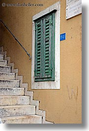 croatia, europe, green, split, stairs, vertical, windows, photograph