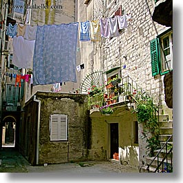 croatia, europe, hangings, laundry, split, square format, photograph