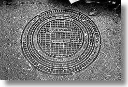 black and white, covers, croatia, europe, horizontal, manholes, split, photograph