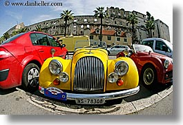 cars, classic car, croatia, europe, fisheye lens, horizontal, morgan, old, split, yellow, photograph