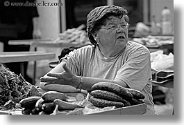 black and white, croatia, europe, horizontal, split, vegetables, vendors, womens, photograph