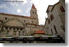 becks, bell towers, buildings, churches, croatia, europe, horizontal, perspective, structures, towers, trogir, umbrellas, upview, photograph