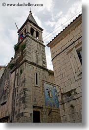 bell towers, buildings, croatia, dancing, europe, perspective, signs, trogir, upview, vertical, photograph