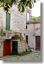 archways, buildings, cobble stones, croatia, europe, stairs, trogir, vertical, photograph