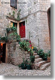 buildings, croatia, europe, plants, stairs, trogir, vertical, photograph
