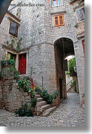 archways, buildings, croatia, europe, plants, stairs, structures, trogir, vertical, photograph