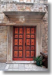 buildings, croatia, doors, europe, frames, ornate, trogir, vertical, woods, photograph