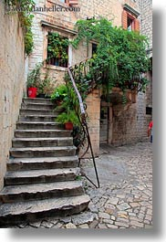 croatia, europe, flowers, plants, stairs, trogir, vertical, photograph