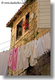 croatia, europe, hangings, laundry, perspective, trogir, upview, vertical, photograph
