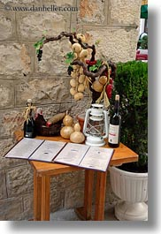 croatia, display, europe, menu, miscellaneous, restaurants, trogir, vertical, photograph