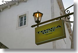 croatia, europe, horizontal, lamp posts, miscellaneous, perspective, signs, stores, tosca blu, trogir, upview, photograph