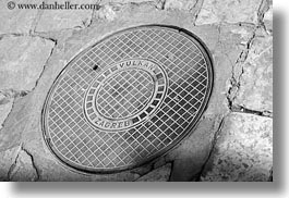 black and white, croatia, europe, horizontal, manhole covers, miscellaneous, trogir, vulkan, photograph