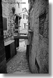 archways, black and white, cobble stones, croatia, europe, narrow streets, stairs, streets, trogir, vertical, photograph
