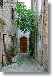 croatia, doors, europe, gates, irons, narrow streets, streets, trees, trogir, vertical, photograph