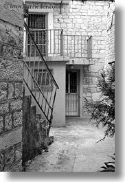 black and white, croatia, europe, gates, irons, many, narrow streets, streets, trogir, vertical, photograph