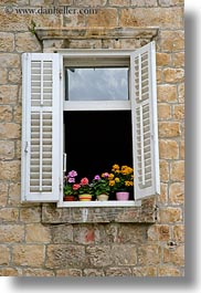 croatia, europe, flowers, trogir, vertical, windows, photograph
