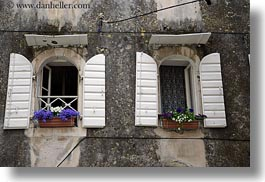 croatia, europe, flowers, horizontal, trogir, windows, photograph