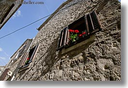 croatia, europe, flowers, horizontal, perspective, trogir, upview, windows, photograph