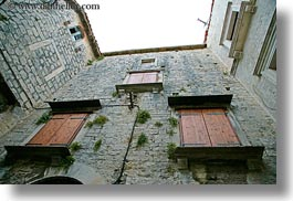 croatia, europe, horizontal, perspective, trogir, upview, windows, photograph